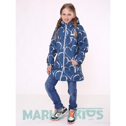 Joiks куртка демисезонная 150г на флисе (синяя в сердечки)