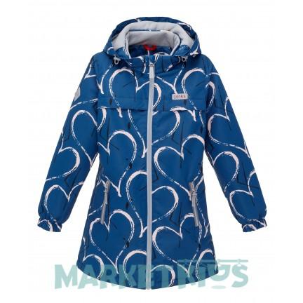 Joiks (джойкс) куртка демисезонная 150г на флисе (синяя в сердечки)