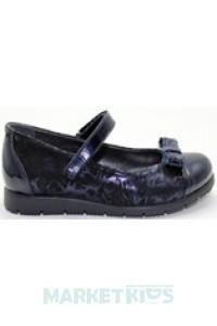 Туфли школьные кожаные для девочки (синие)