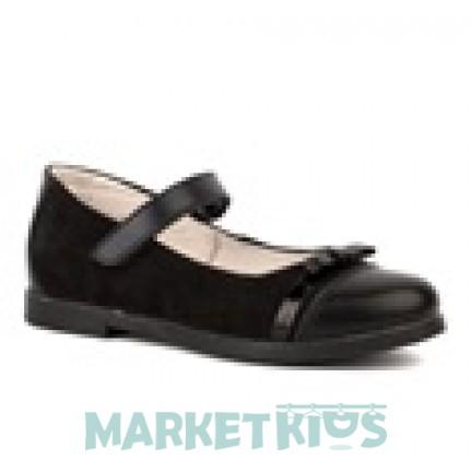 Туфли школьные кожаные для девочки Шаговита (черные)