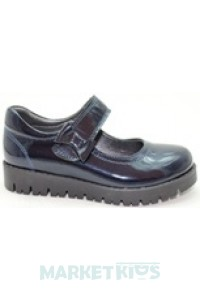 Туфли школьные кожаные для девочки ТМ Krokky (синие)