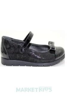 Туфли школьные кожаные для девочки (черные)